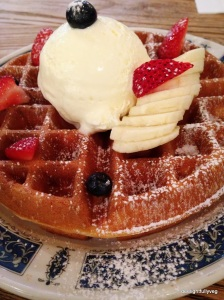 Buttermilk waffles at $8.5