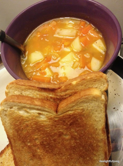 Potato and peach stew