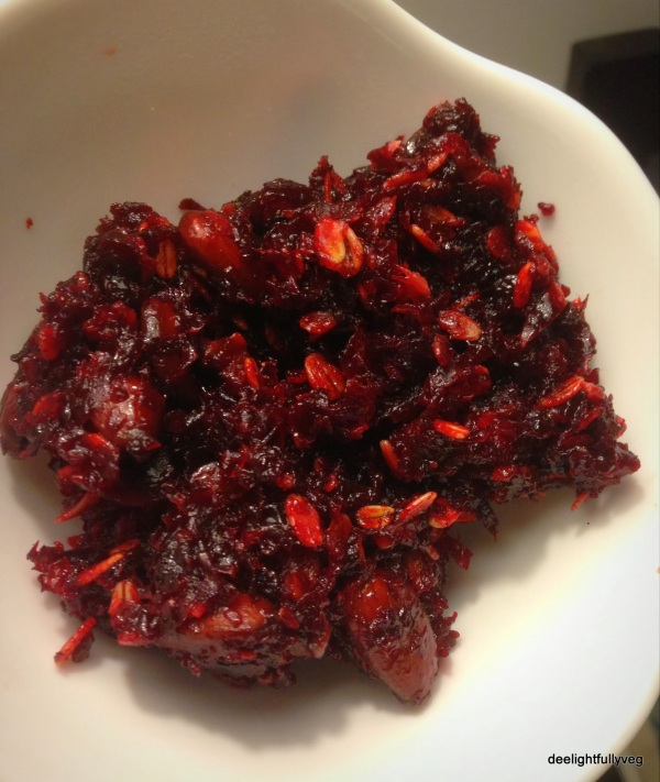 Beetroot and oats halwa