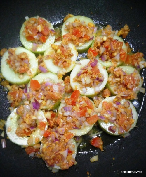 Stuffed cucumber cooking in progress