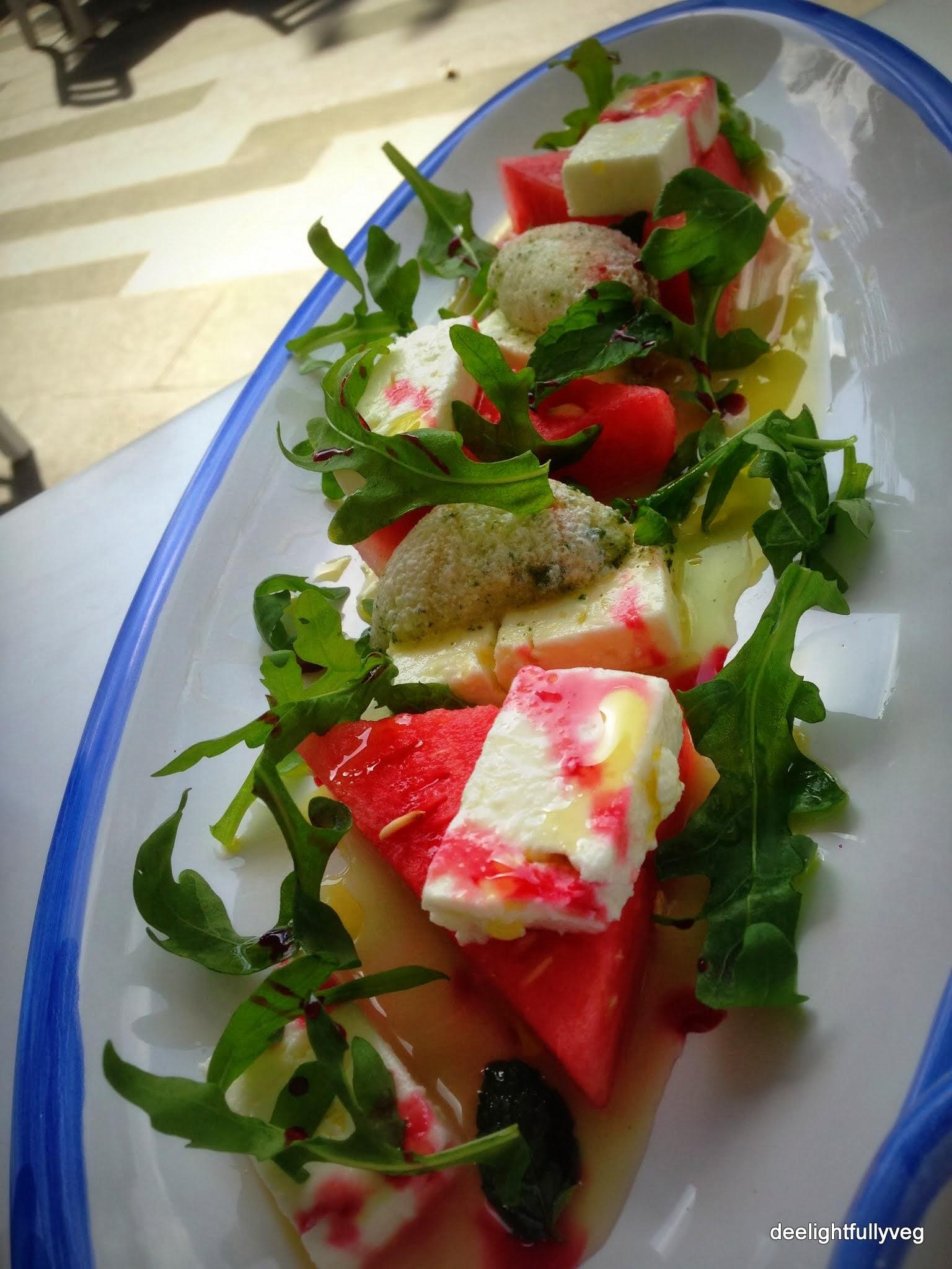 Feta cheese and watermelon salad at $17.90