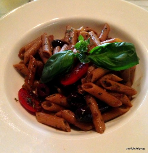 Balsamic cherry tomato prune pasta