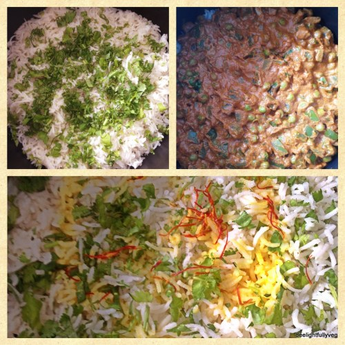 Vegetable biryani layers