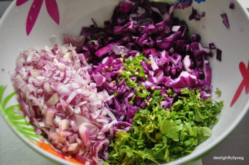 Potato and cabbage tikki prep