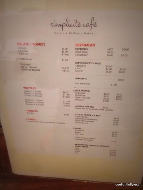 Simplicite cafe menu