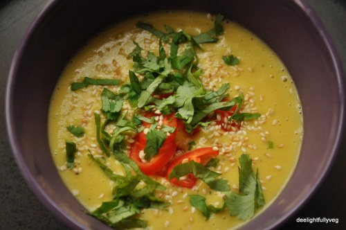 Yellow pumpkin and potato soup
