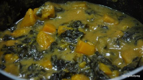 Yellow Pumpkin and spinach kozhambu