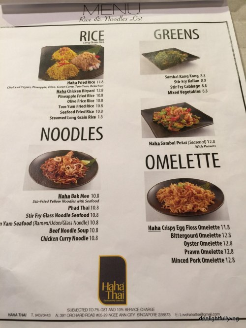 Haha Thai mains menu