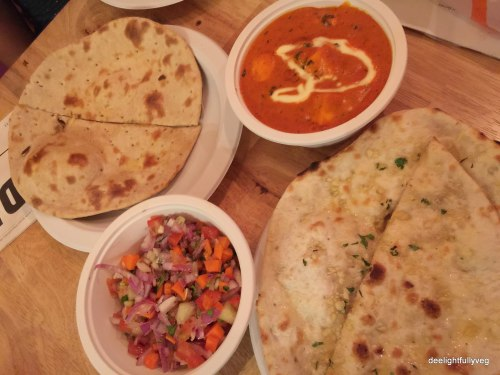 Paneer Makhani with Garlic Naan, Tandoori Roti and Kachumbar