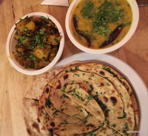 Pudina Lachcha Paratha with Aloo Methi Dry and Dal Tadka