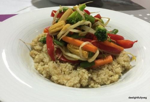 Layering of quinoa with veggies