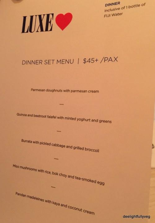 Luxe dinner menu