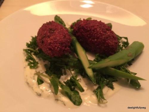 Quinoa and beetroot falafel