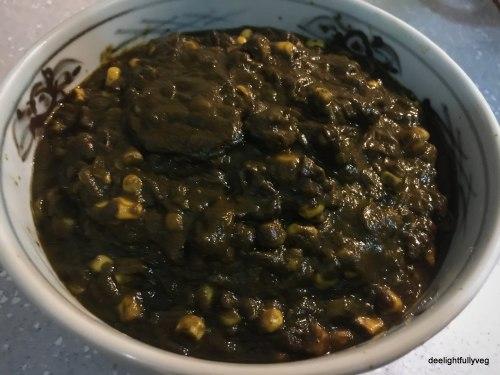 Spinach corn sabzi