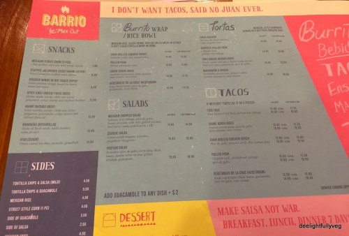 Barrio food menu