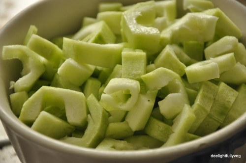 Cut ridge gourd pieces