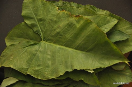Washed taro leaves