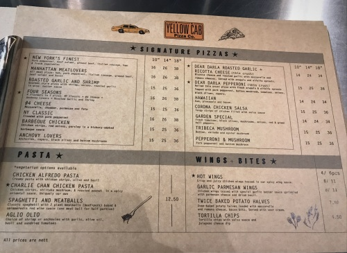 Yellow Cab Pizza menu