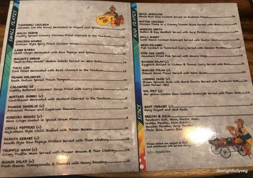 Flying Monkey menu