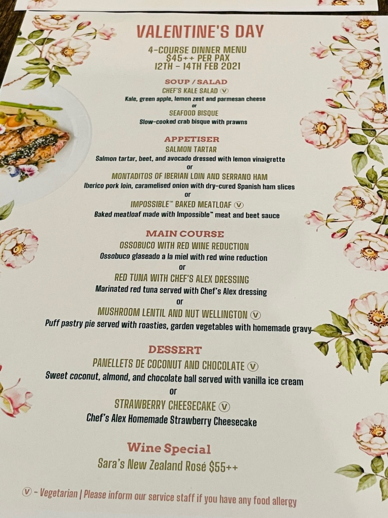 Vegetarian Valentine menu for dinner at Cuba Libre at Frasers Tower in Singapore
